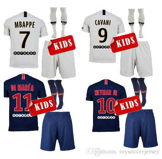 70325fd51 2019 18 19 Paris Kids Soccer Jerseys Home Mbappe Maillot De Foot 2019 Psg  CAVANI DI MARIA BUFFON Survetement Child Youth Football Uniforms SETS From  ...