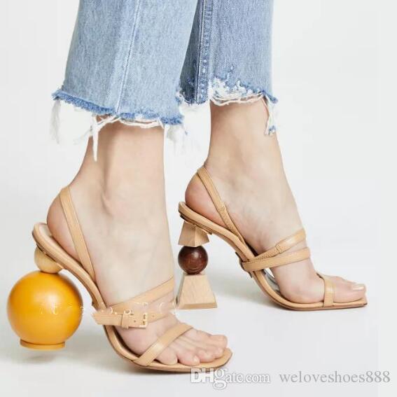Femmes Date Talons Perle Building D Chaîne Sandales Étrange Sexy Chaussures Été Robe Hauts Asymétrie Anormal Style Block Talon QrxtshdC