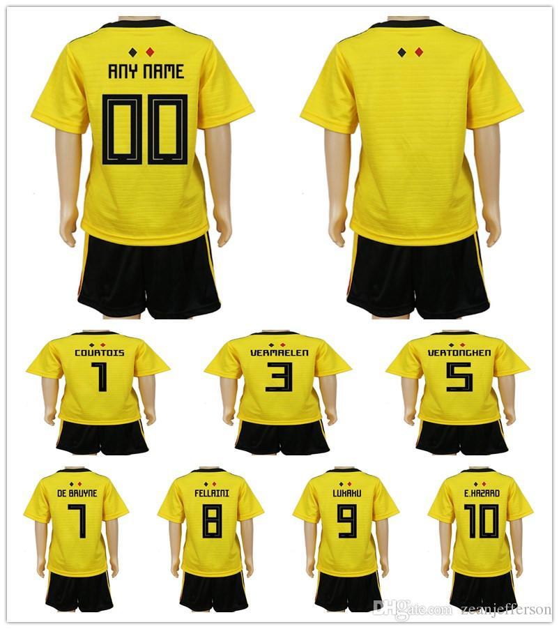 ac5e01c421a Kids Kits 2018 World Cup Belgium Away Yellow E.HAZARD KOMPANY LUKAKU ...
