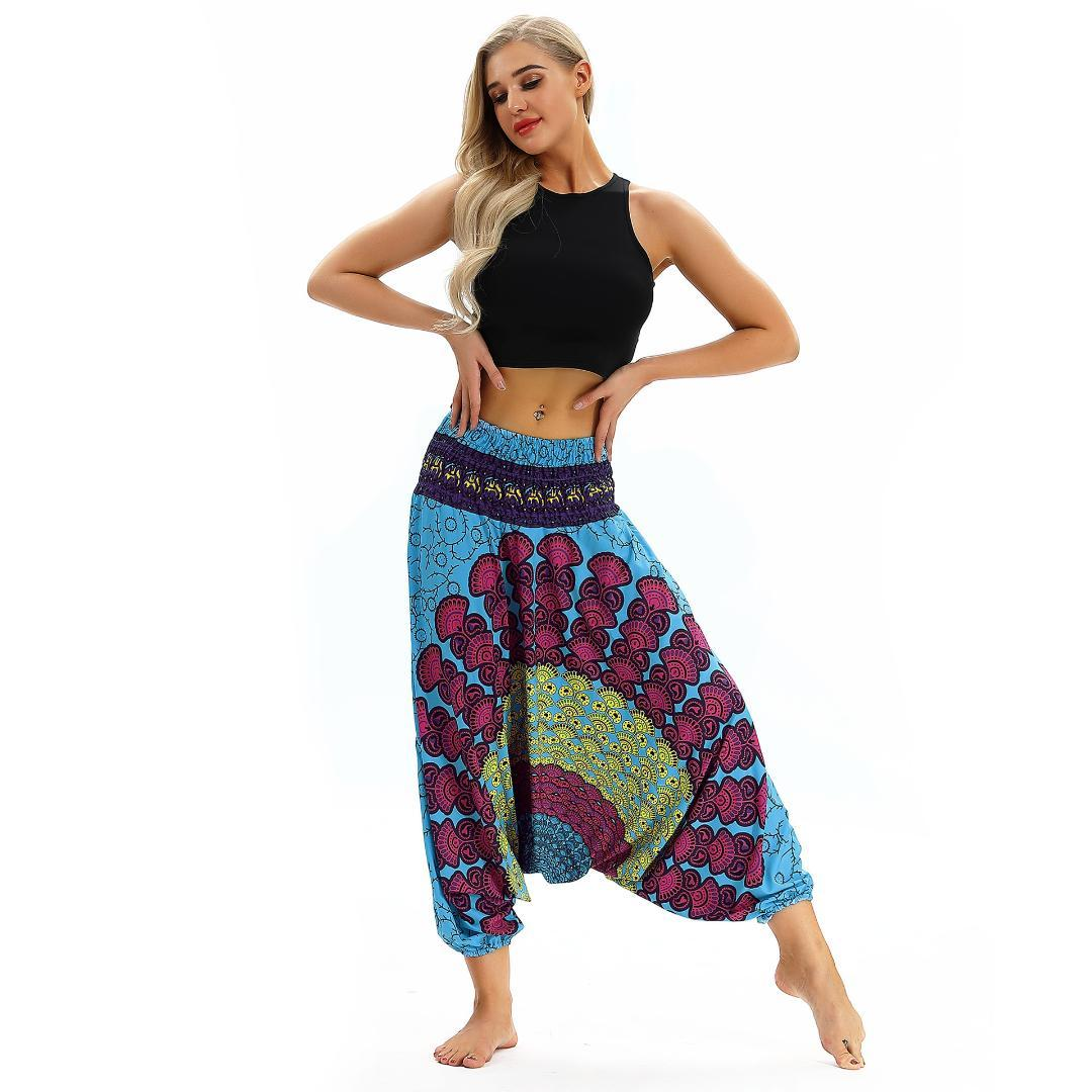 d31787a5e4 2019 One Size Loose Yoga Trousers Baggy Aladdin Harem Pants Women Indian  Summer High Wasist Print Ladies Comfy Beach Pants Gypsy Hot From Fopfei, ...