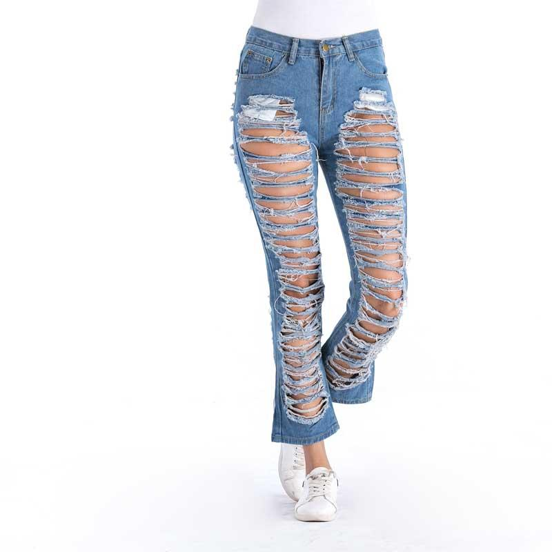 f81a31f0461 2019 Sexy Ripped Flare Pants Women Vintage Mom Loose Middle Waist Jeans  Straight Hole Pants Femme Washed Denim Jeans Classic Trousers From Dalivid,  ...