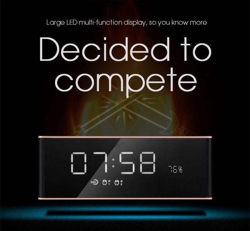 Bluetooth Desktop Clock Speaker LP-06 Desktop Portable Alarm Time Clock Wireless Speaker Portable Audio Player FM Radio T20 Mirror LED Clock