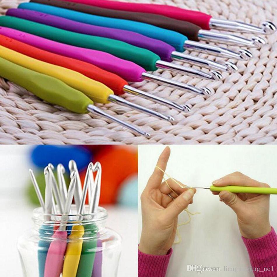 16 tamaños Crochet Hooks Agujas de tejer Puntadas Estuche Crochet Set Craft Tool Kit Hilado Gancho Puntada Tejido Accesorios OOA4468