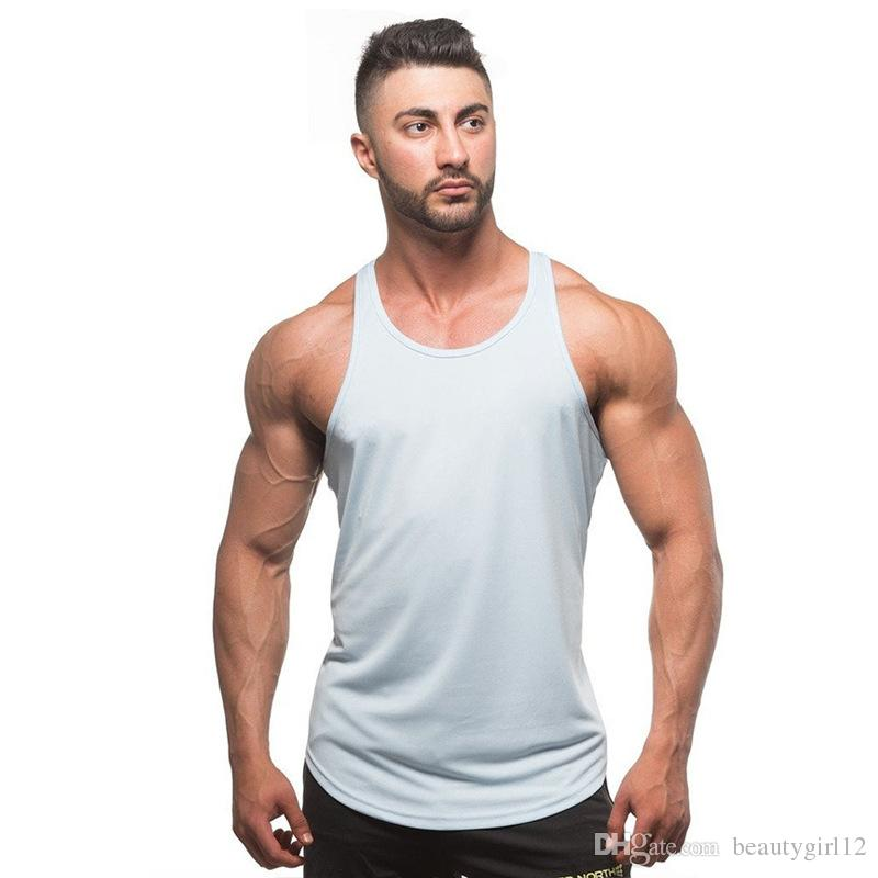 The new man has a pure color fitness sports cotton sling vest muscle