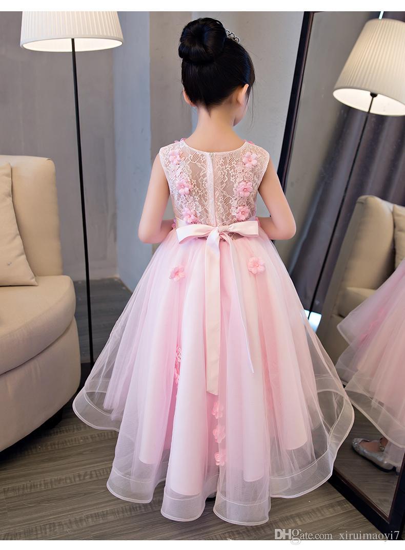 Elegantes Mädchen Rosa Spitze Hochzeitskleid Sommer ärmellose Applikationen Party Tüll Prinzessin Geburtstag Kleid Kinder Erstkommunion Kleid
