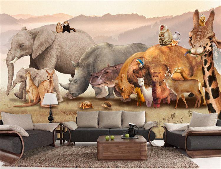 Wholesale 3d Cartoon Mural Wallpaper Animal Fresco for Children Room mural Sofa TV Background Kids Room Murals Wall Sticker