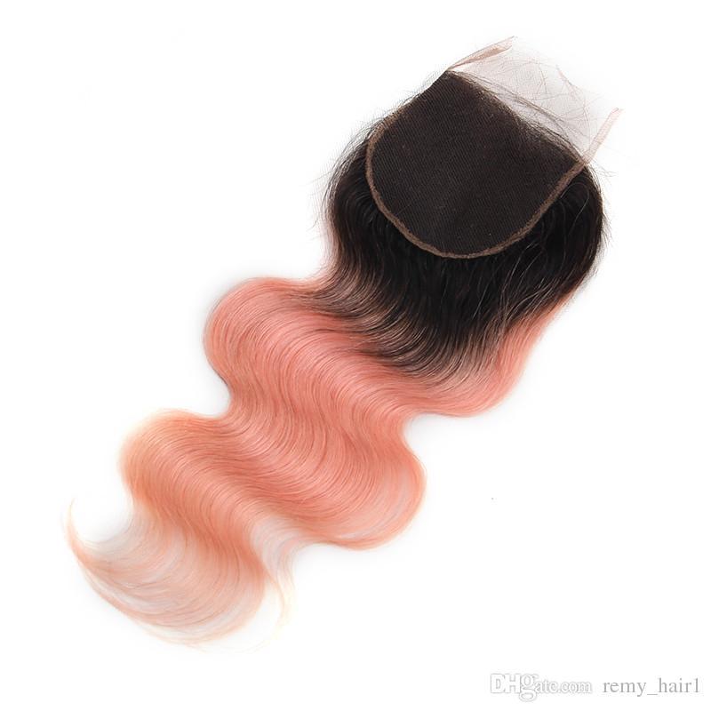# 1b / розовое золото омбре девственные перуанские волосы 3 пучка сделок с закрытием волна тела омбре розовые человеческие волосы ткет с 4x4 кружева закрытия