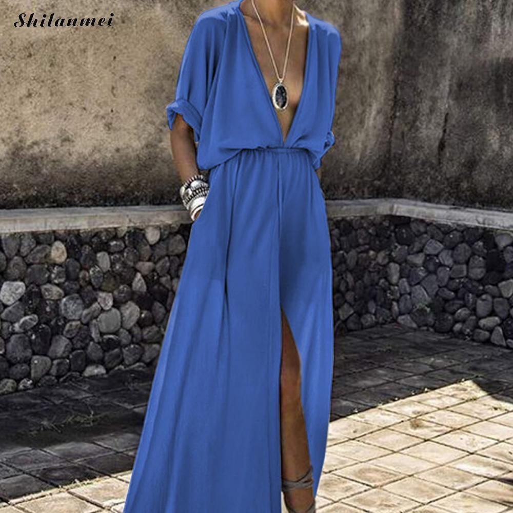 Acquista Maxi Camicia Lunga Estate Abito Donna 2018 Plus Size Abiti Da  Spiaggia Allentati Eleganti Femminile Vintage Sexy Scollo A V Split Boho  Vestidos 3xl ... 2f55303b518