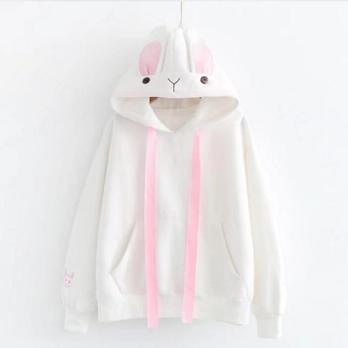 2017 winter new ladies small fresh wild rabbit ear hooded Sweatshirts women