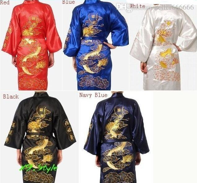 8703443c37 2019 Embroidery Dragon Chinese Silk Men S Bathrobe Kimono Robe Gown Black  Red Blue White Navy Top Quality From Seller666666