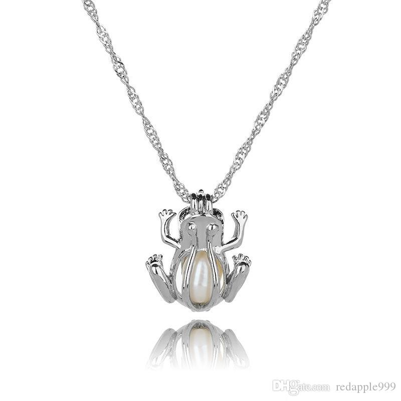Yeni Aşk İstek doğal İnci Kafes kolye kolye ile Oyster Pearl Mix Tasarım Moda Hollow Locket Clavicle Zincir kolye toptan