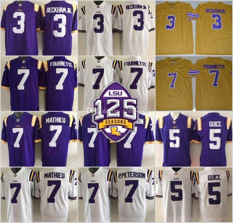9606e0ab1 2019 NCAA LSU Tigers  3 Odell Beckham Jr. Hot Sell Jersey 7 Leonard  Fournette Tyrann Mathieu Patrick Peterson 5 Derrius Guice Purple White  125th From Tobe ...