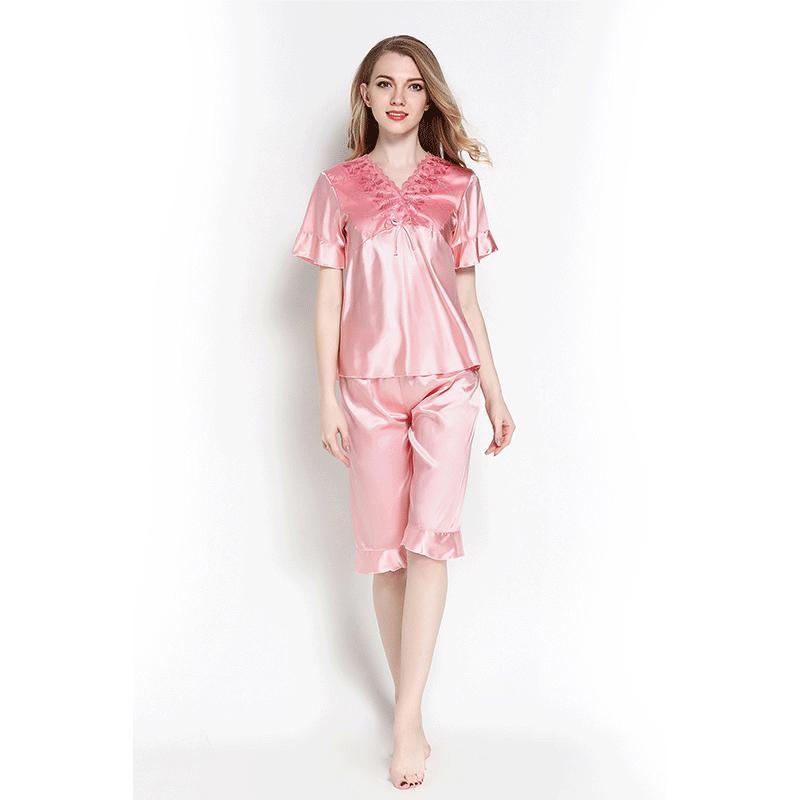 6bcb027534 2019 Autumn Silk Pajamas Sets Pretty Pyjamas Women Sleep Sexy Wear Tops And  Shorts Female Satin Lingerie Home Suit Cute Pijama Mujer From Baolv