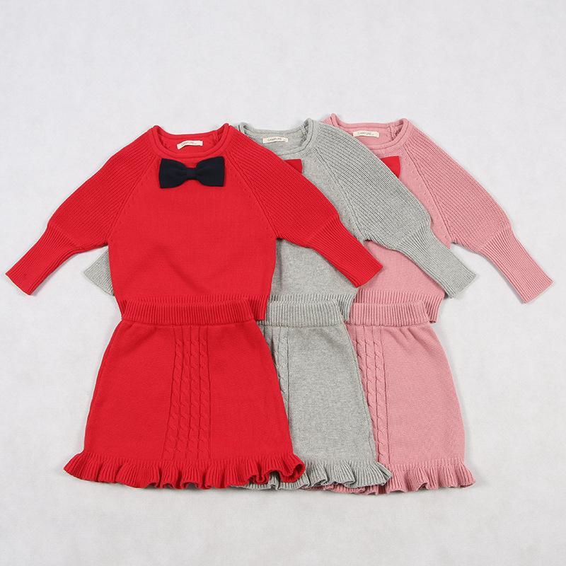 Mädchen Kleidung Winter Mädchen Pullover Set 2018 Herbst Baby Mädchen Warme Pullover Top Prinzessin Kleid 2 Stücke Set Kinder Solide Baumwolle Strickwaren Anzüge