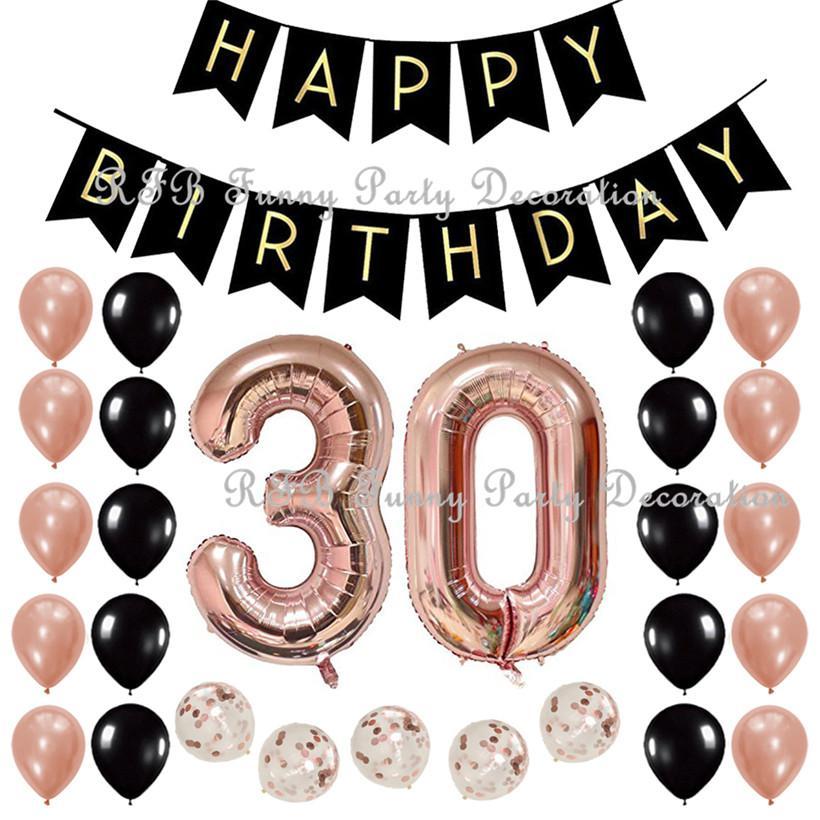 60 Geburtstagsfeierdekoration Liefert Mit Schwarzen Happy Birthday Banner 40 Zoll Rose Gold Anzahl Ballons Von Igarden001 3203 Auf DeDhgate