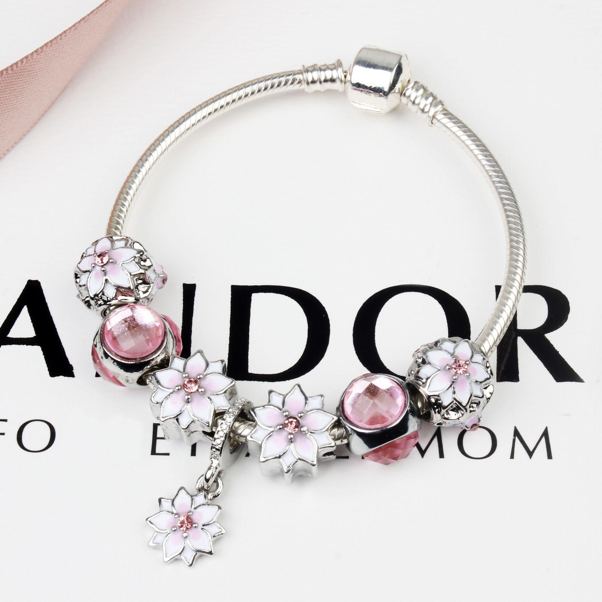 18 19 20cm Magnolia Flower Bracelet Fashion Bracelets For Women Pink