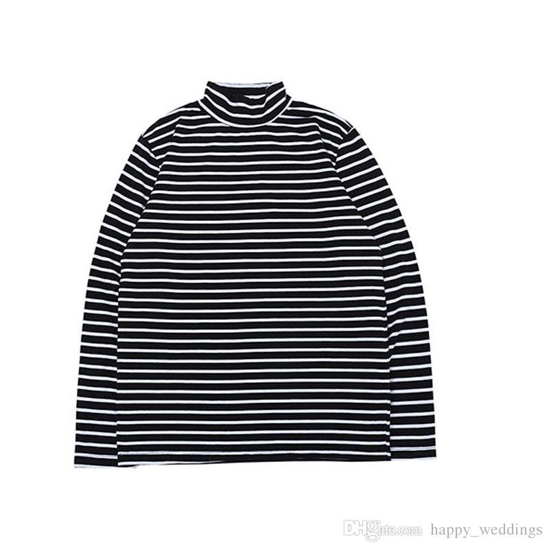 572a0354dca Streetwear Fear Of God T Shirts Men Women Black White Striped Zebra FOG  Tshirt Stand Collar Fear Of God Base Long Sleeve T Shirt Geek T Shirts Mens  Formal ...