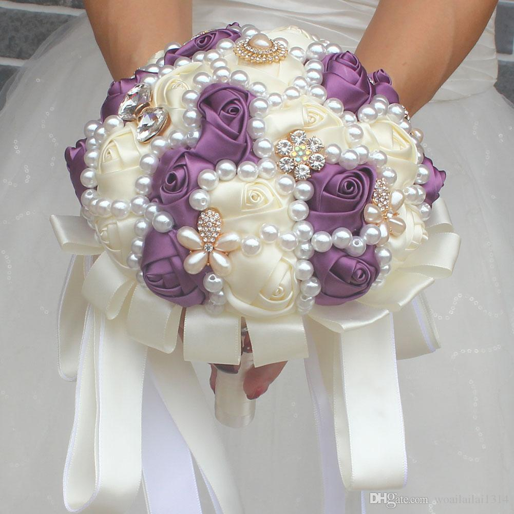 4e6459cd35 Artificial Rose Bride Flowers For Wedding Party Decoration Bridal Prom  Wrist Corsage Bridesmaid Sisters hand flowers W226C