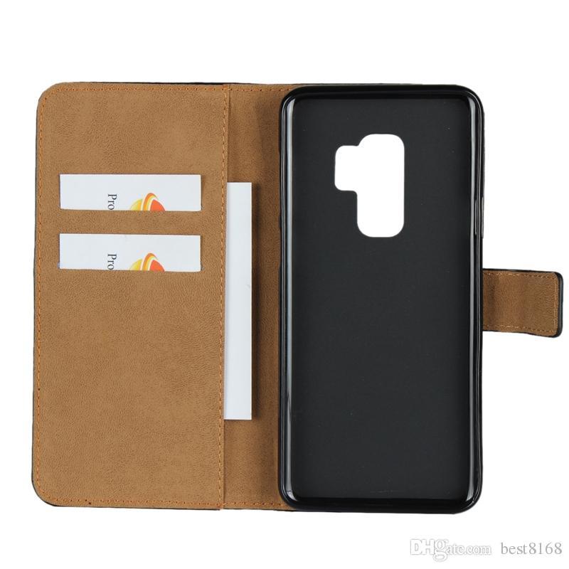 Echter echter wahrer lederner Mappen-Kasten für Iphone XR XS MAX X 8 7 6 6S SE 5 5S Galaxie S9 S8 S7 Rand-Anmerkung 9 8 Identifikations-Kreditkarte PC Schlag-Abdeckung