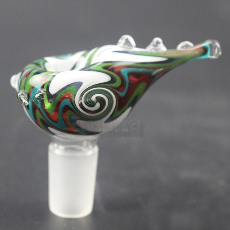 Heady Colored Glass Bowl 14mm 18mm Male Bowl Beautiful Slide for Glass Bubbler and Ash Catcher Bong Bowls Colored Smoking Pipes Bowl W26C