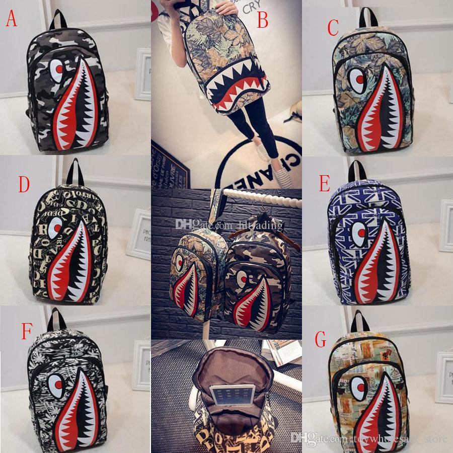54e430cf5 Graffiti Anime Shark Printing Backpacks For Teenage Boy Girl Women Men  School Bags Cool Shoulder bag Travel Backpack C4187
