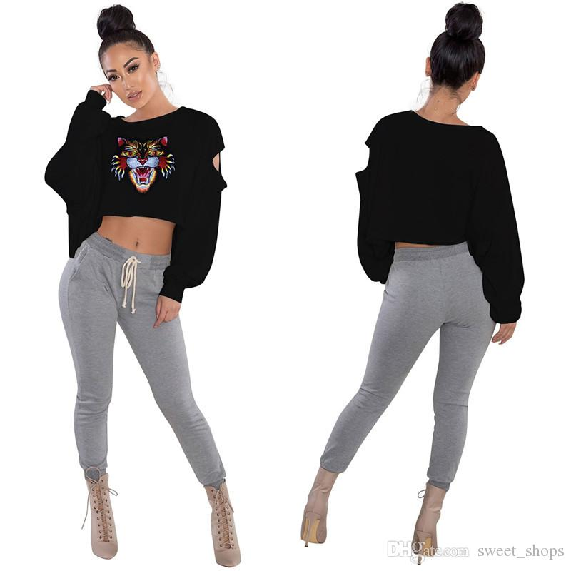 7b5587cb7caf3 Tiger Head Printed Crop Top Women T Shirts Long Sleeve Round Neck ...