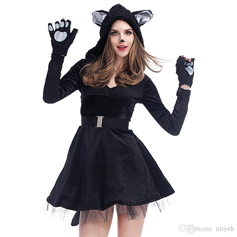 2018 Halloween Costume Cosplay Sexy Black Cat Costumes Animal