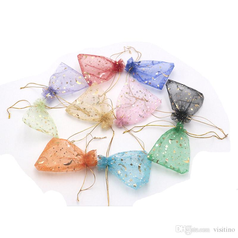 42a3a53dc161 2019 9 12cm Mesh Organza Gift Bags Star Moon Printings Jewelry Accessories  Pouches Wedding Party Favor Candy Bags Wholesale From Visitino