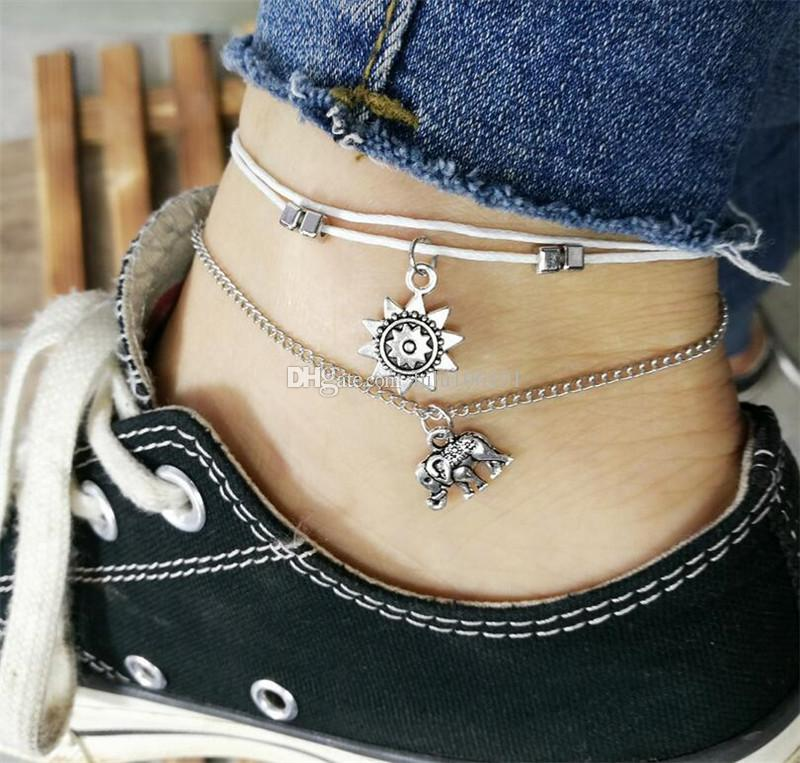 850b7a3ed32 2019 Vintage Star Elephant Anklets Bracelet For Women Boho Pendent Double  Layer Anklet Bohemian Foot Jewelry Gift From Lulu106101