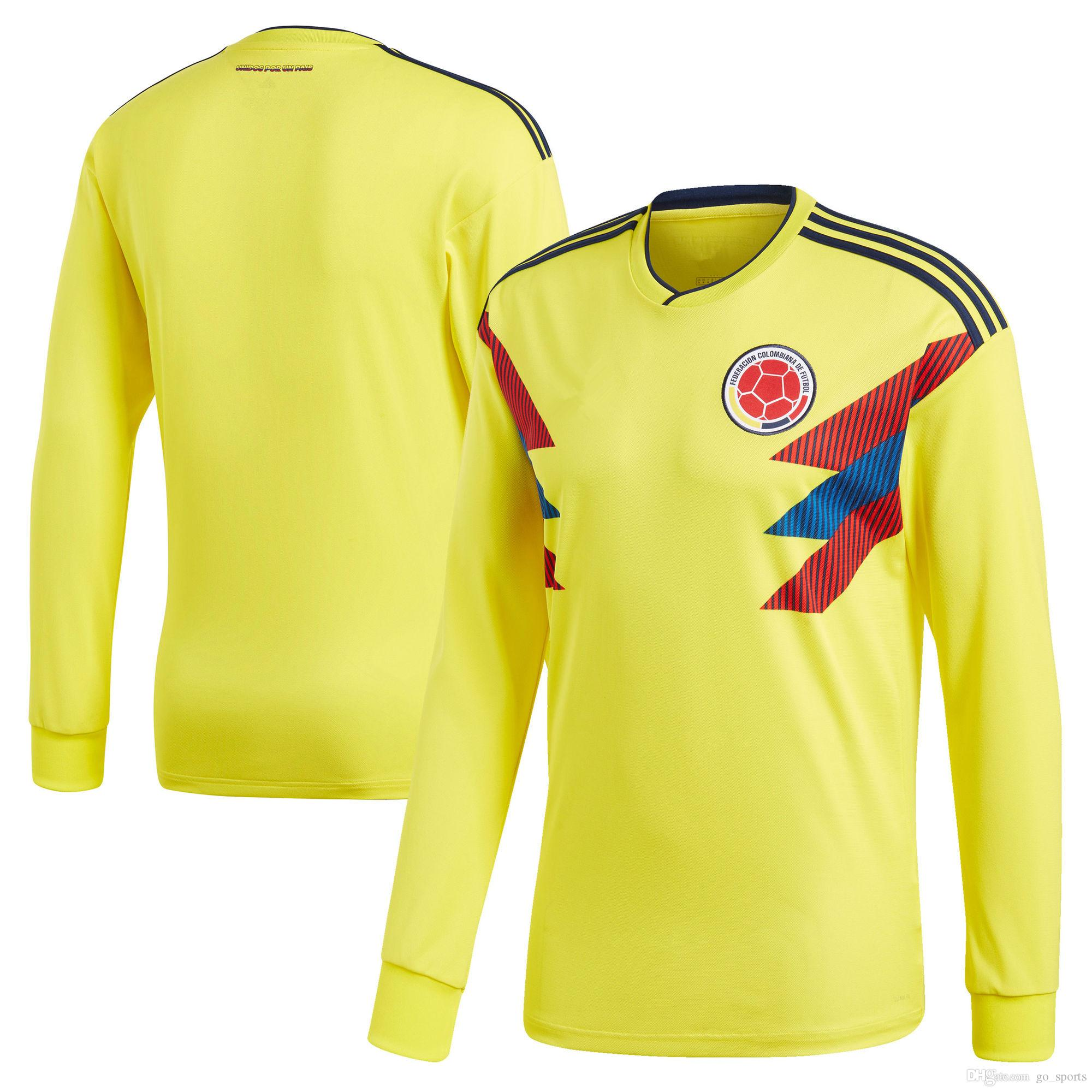 9c5be7783ac 2019 2018 Colombia Soccer Jerseys Customized Long Sleeve Best Quality  FALCAO JAMES CUADRADO TEO BACCA Soccer Jersey Football Jerseys From  Go_sports, ...