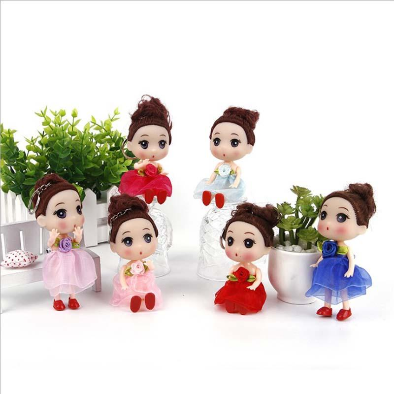 12cm Doll Action Figure Toy Mini Dolls Toys Keychain 200pcs Princess Dolls For Girls Anime Brinquedos Gift
