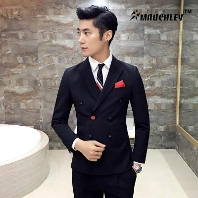 b4a67318ee5 Double Breasted Suit Tuxedo For Mens Suits With Pants Slim Fit Latest Design  Chinese Prom Wedding Suits Terno Masculino Canada 2019 From Vikey13