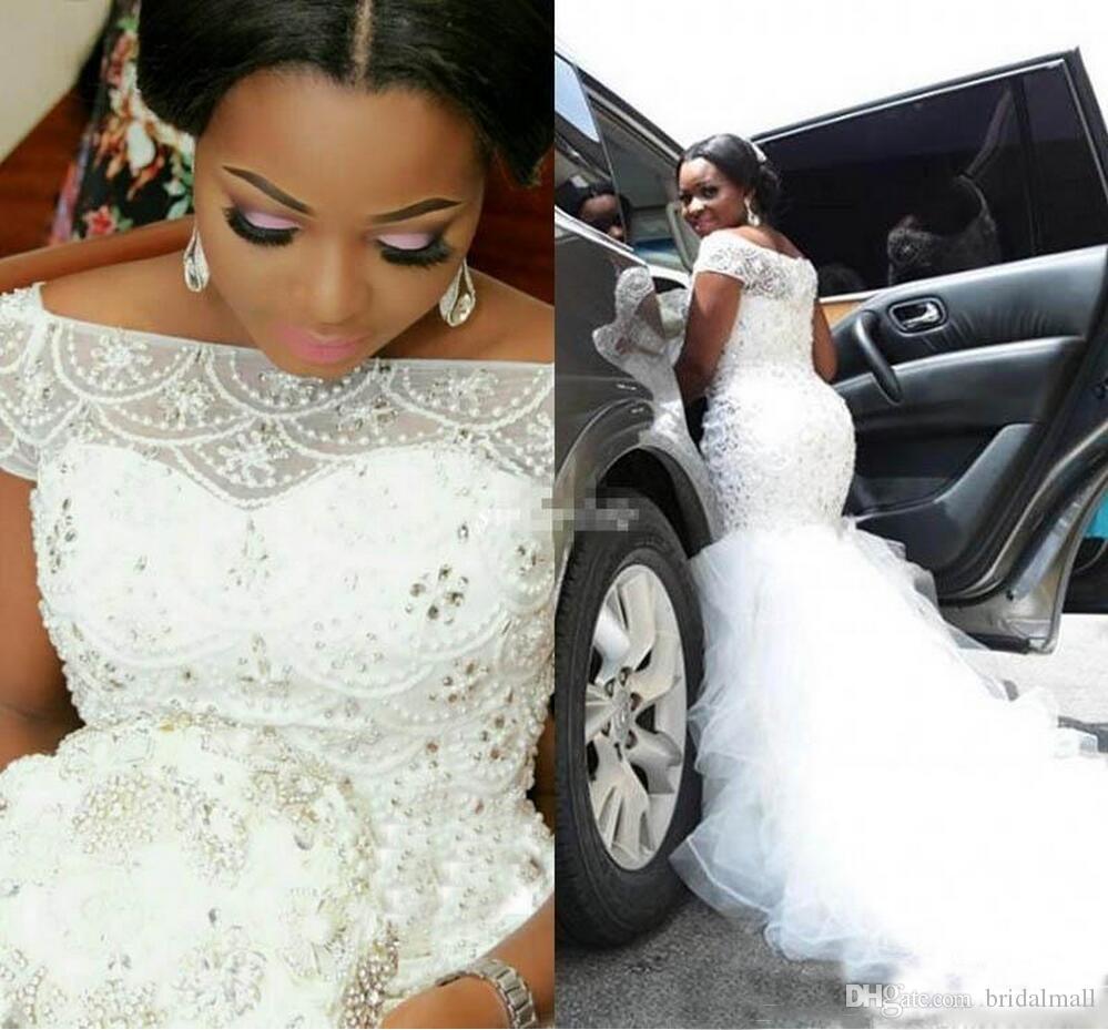 플러스 사이즈 2020 나이지리아 인어 웨딩 드레스 럭셔리 구슬 진주 아프리카 웨딩 드레스 프릴 스커트 얇은 명주 그물 신부 드레스 Vestidos