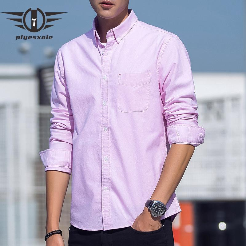 98d3474bbed1 2019 Plyesxale Brand Oxford Shirts For Men High Quality 100% Cotton Button  Down Collar Dress Shirts Men Long Sleeve White Pink T13 From Yuanchun, ...