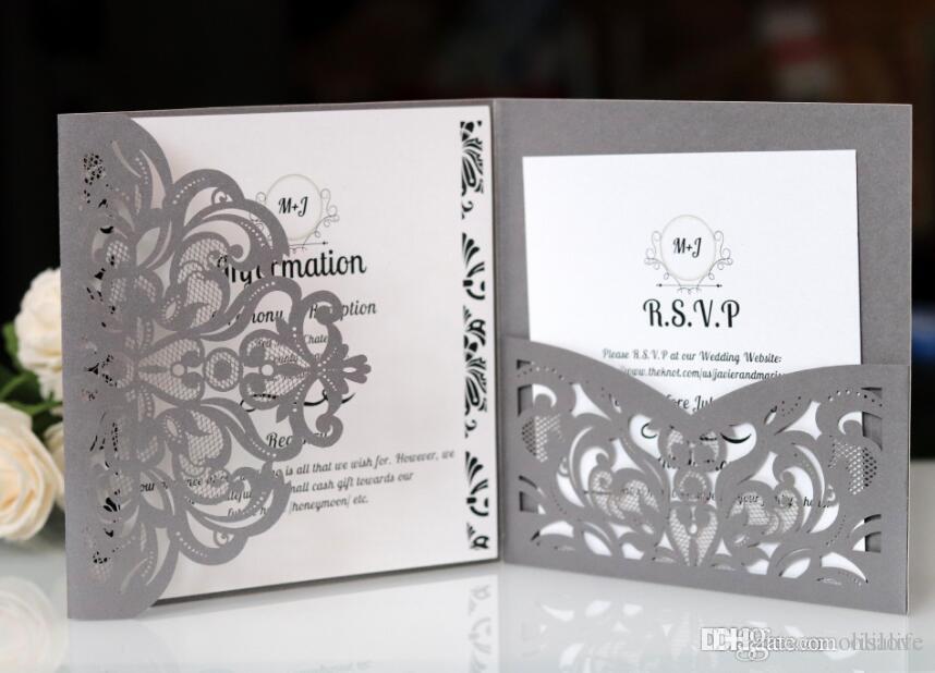 Pocket Invitations Silver Shimmer Square Laser Cut Wedding