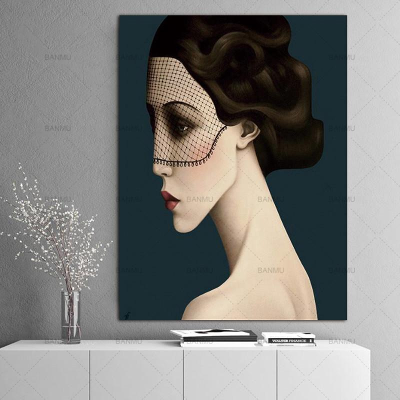 High Quality Handpainted & HD Print Abstract Girl Portrait Art oil painting On Canvas Home Decor Wall Art Multi Sizes p148