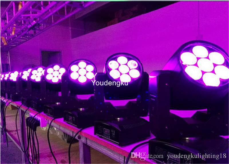 2 قطعة Zoom 7X10W LED الصغيرة ذات الرأس المتحرك تغسل إضاءة المسرح الاحترافية RGBW 4in1 Wash Zoom شعاع ligh