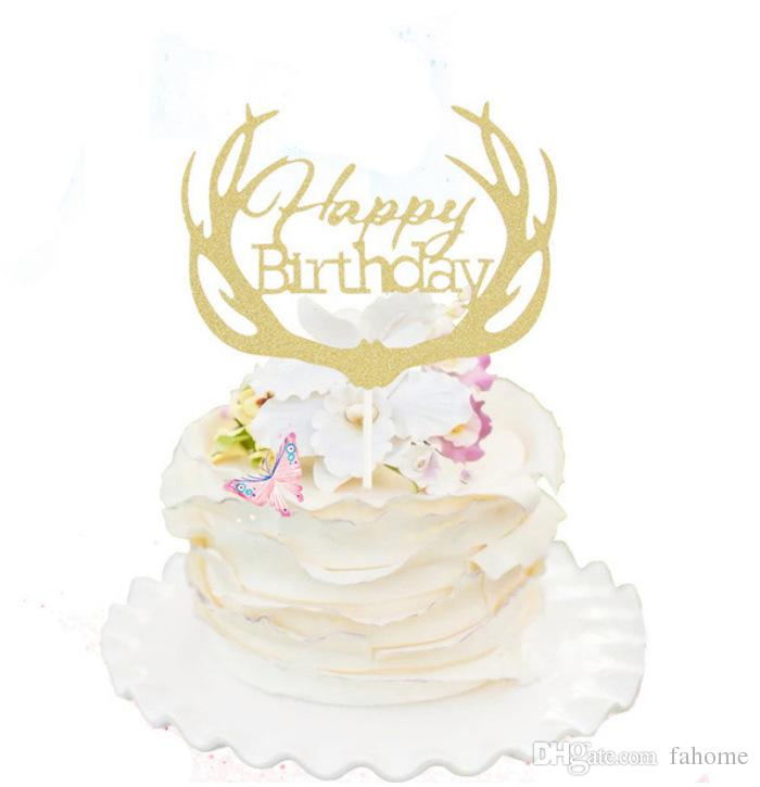 4 Colors Antler Happy Birthday Letter Cake Topper