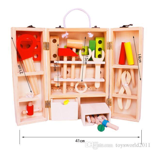 Ahşap Marangoz Alet Kutusu Set Ahşap Çalışma tezgahı Ahşap Atölye Aracı Depolama Çocuklar Çocuklar Için Oyuncak Pretend