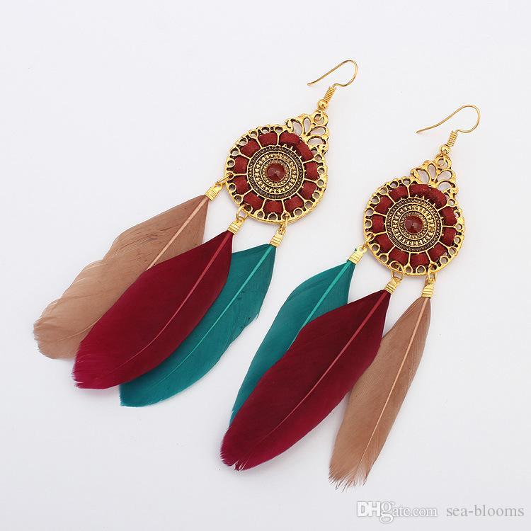 es estilo étnico de la vendimia círculo de moda pendientes de cadena de la pluma borla hoja de la pluma cuelga el pendiente Eardrop joyería de las mujeres DHL H52R libre