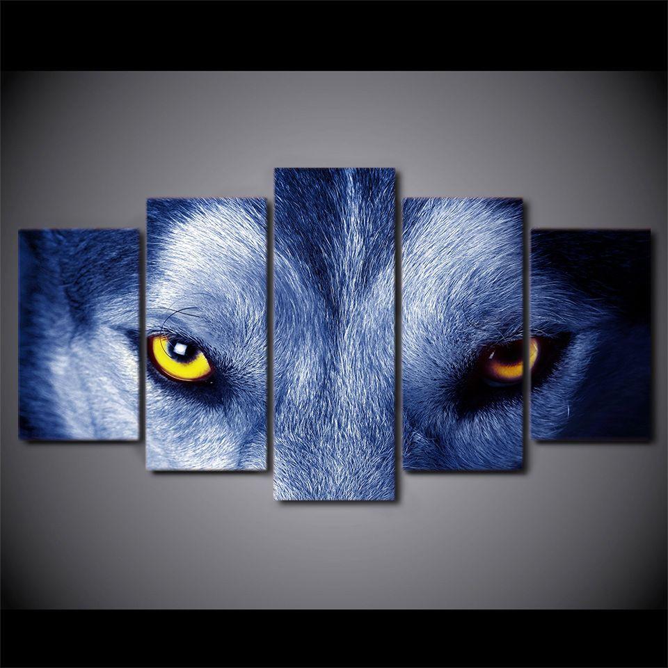 Compre 5 Unids Enmarcado Hd Impreso Lobo Ojos Grupo Pintura De La ...