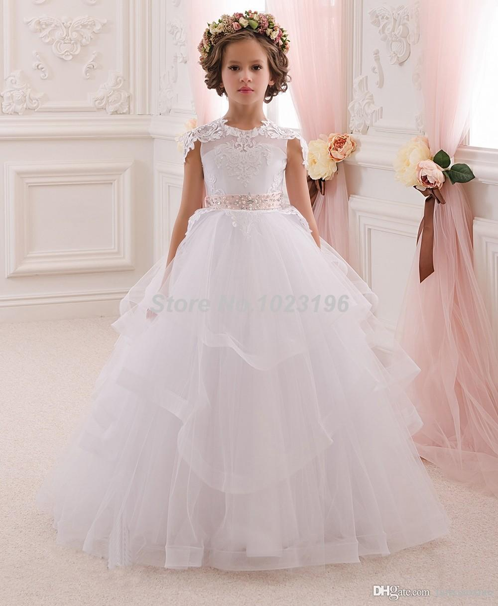 Hot Pretty Princess White Ivory Lace Flower Girl Dresses With Belt