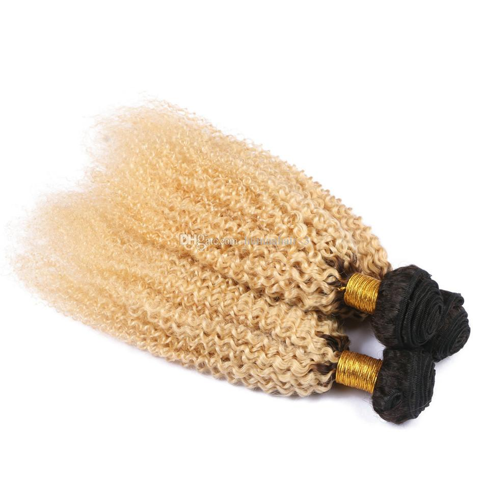 Bundle di capelli umani biondi crespi Afro / Tessuti di capelli vergini brasiliani 1b 613 Biondo a due toni crespi capelli scuri Radici Bundles