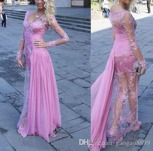2K18 Prom Dresses Party Wear long Illusion Lace Sheath V-Neck Long Sleeves Floor Length Chiffon Ruching Side Sash Evening Dresses