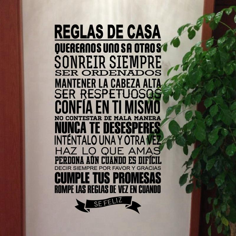 Spanish House Rules Wall Stickers Home Decor Vinyl Decal Spanish