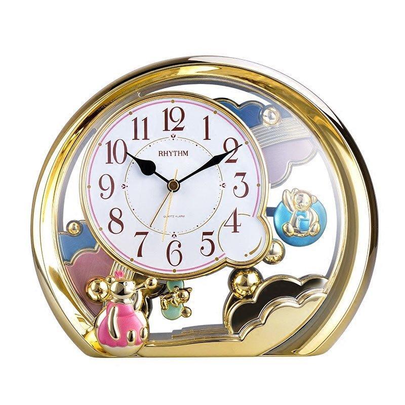 Brand Cute Mini Bear Saat Silent Jumping Movement Table Clock Pendulum Desk  Clock Gold Frame Childrenu0027s Gifts