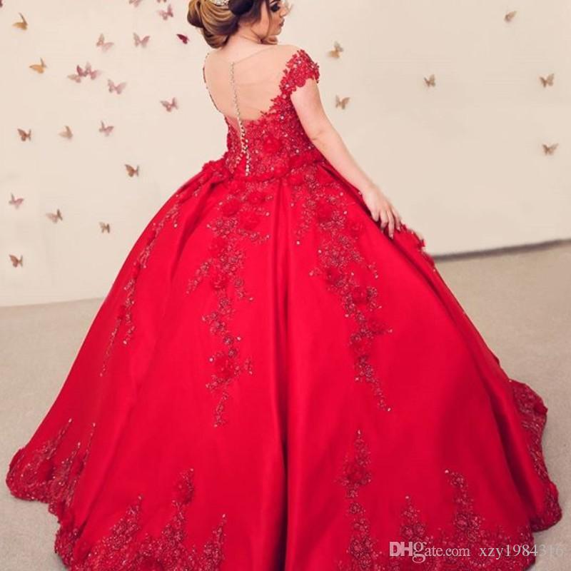 Vestidos de baile vestido vermelho Prom Sheer Jewel Neck Beads Lace Applique manga curta Sation Vestidos Glamorous Arábia Prom vestido de festa