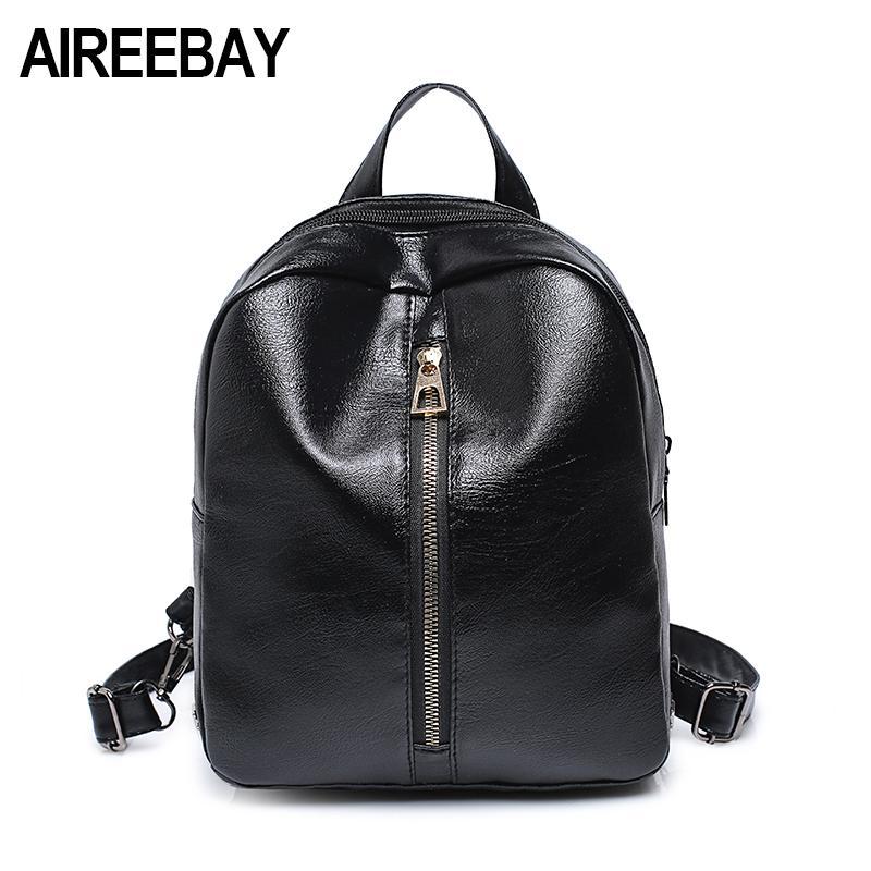 AIREEBAY Mini Leather Women Backpack Fashion Rivet Zipper Small ... 035be070b1785