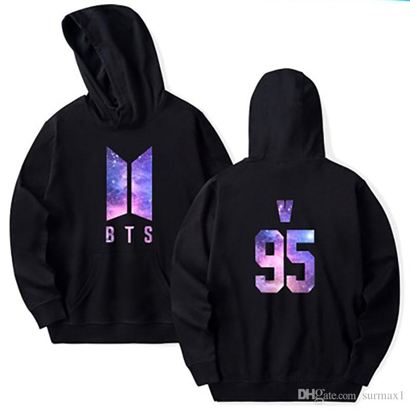 """BTS Bangtan Boys Fan Suit Size 2XS-4XL Loose Casual Top with Letter """"v"""" Multi-colored Large Size Hoodie"""