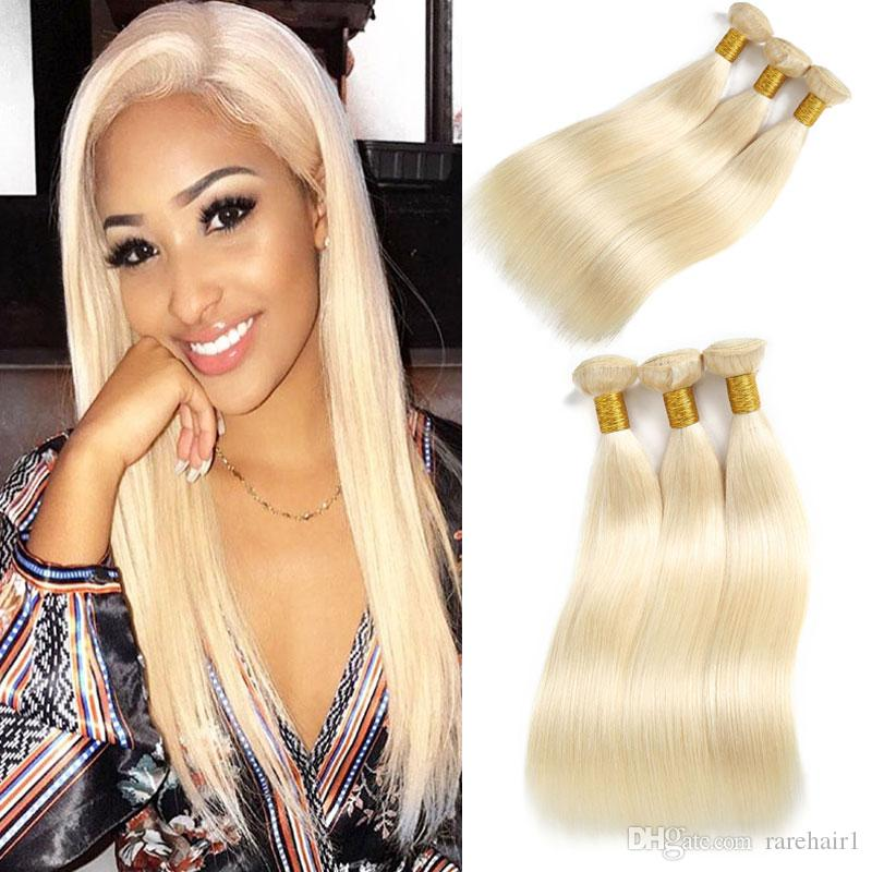 Brazilian Straight Hair Bundles Weave 3 PCS Blonde Full 613 Color Non Remy 100% Human Hair Extensions 10-26Inch